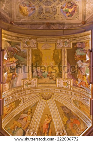 BOLOGNA, ITALY - MARCH 17, 2014: The ceiling fresco in chapel of the sacristy in baroque church San Michele in Bosco with the Old Testaments scenes.