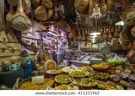 BOLOGNA, ITALY - March 8, 2014: Window of typical grocery shop in Bologna - stock photo