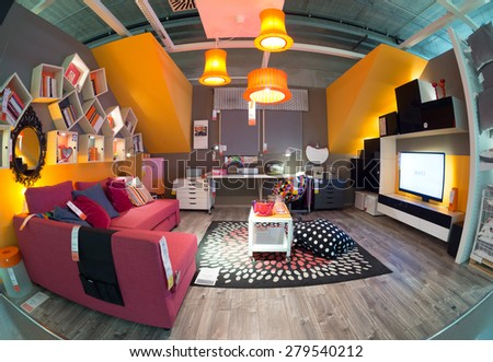 BOLOGNA, ITALY - May 19, 2015: Inside Ikea Bologna. Ikea is present in Italy for 25 years and has opened in Bologna in 1997. - stock photo