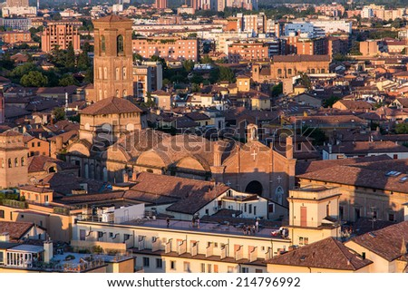 "BOLOGNA,ITALY-MAY 17,2014:panorama of Bologna view from the famous ""Prendiparte"" tower located in the centre of the city.You can see the the red and old houses and tower of the city."