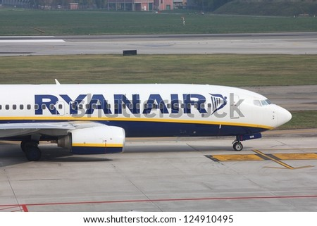 BOLOGNA, ITALY - OCTOBER 16: Ryanair aircraft taxies on October 16, 2010 at Bologna Airport, Italy. Ryanair carried 79.6 million passengers in 2012, becoming 2nd largest airline in Europe.