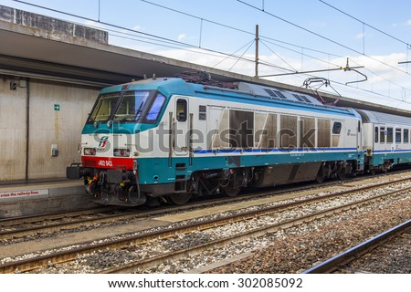 BOLOGNA, ITALY, on MAY 2, 2015. The high-speed modern train stopped at the platform of the Central station