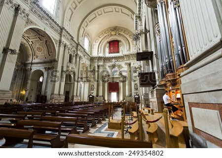 BOLOGNA, ITALY - SEPTEMBER 5, 2014: Detail of the interior of the Cathedral of St Peter (Cattedrale Metropolitana di San Pietro) in Bologna, Italy - stock photo