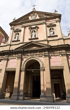 BOLOGNA, ITALY - SEPTEMBER 5, 2014: View of the Neoclassical facade of the church of San Benedetto in Bologna, Italy.  - stock photo