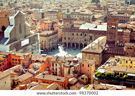 Bologna vista from Asinelli tower - stock photo