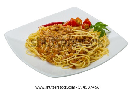 Bolognese spaghetti with tomato and meat - stock photo