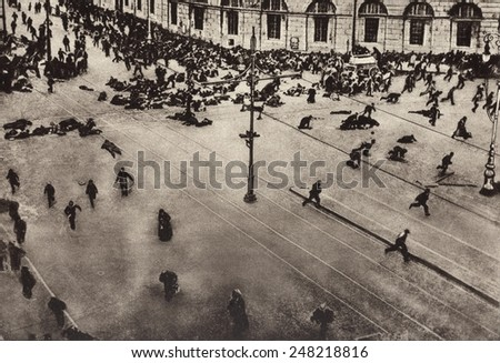 Bolshevik protest scattered by machine guns. Nevsky Prospect, Petrograd. July 4,1917. Street demonstrators were fired on by troops of the Provisional Government from the roof of the Public Library. - stock photo