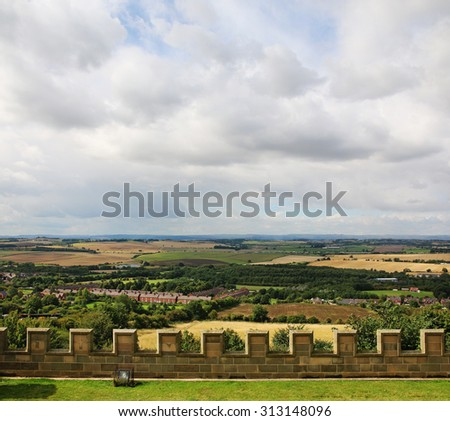 BOLSOVER, NOTTINGHAMSHIRE - SEPTEMBER 2, 2015: Bolsover Castle, Nottinghamshire dominates the countryside from its hilltop position and the Stuart mansion was designed to entertain and impres - stock photo
