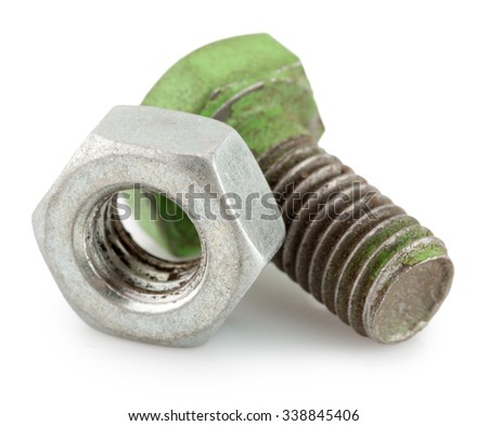 bolt and nut isolated on the white background - stock photo