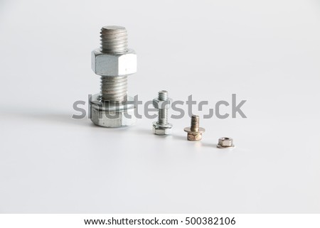 bolt and nut on white background