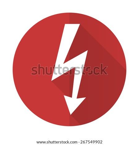bolt red flat icon flash sign  - stock photo