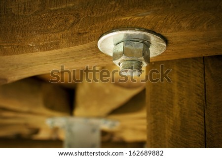 Bolt with a nut - stock photo