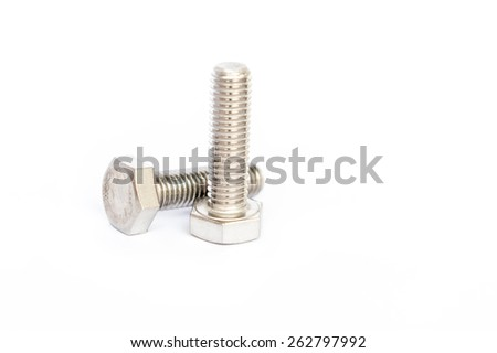 bolts and nuts on white background - stock photo