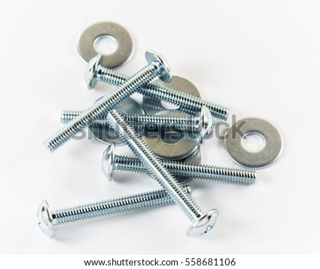 Bolts and washers on a white background