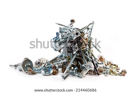 Bolts, nuts, washers, screws, nails on white background - stock photo