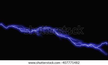 Bolts of lightning extend horizontally across  - stock photo