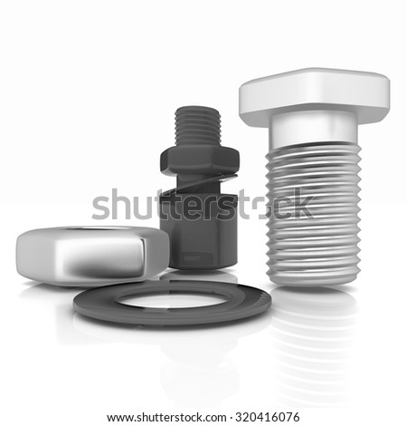 bolts with a nuts and washers