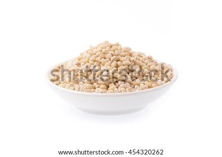 bolw of Barley rice isolated on white background - stock photo