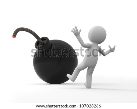 Bomb/Crisis/a people is surprised by a bomb - stock photo