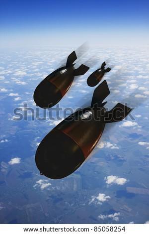 Bomb over the sky - stock photo