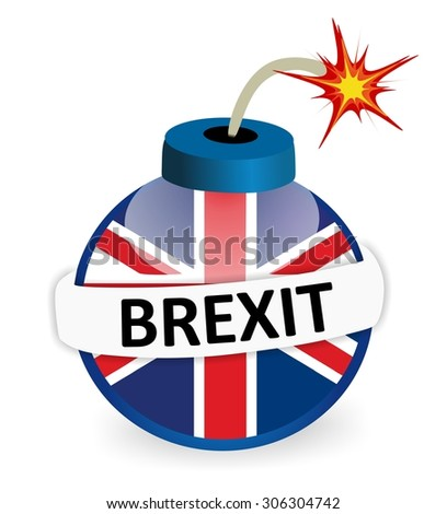 bomb with british flag and BREXIT text - stock photo