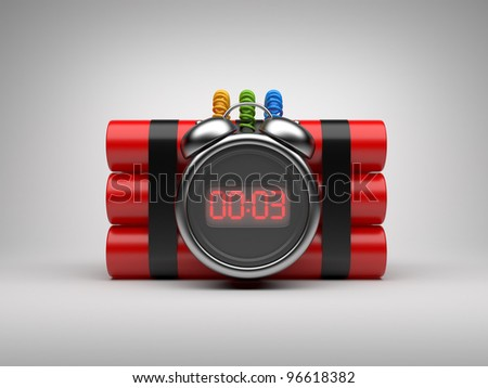 Bomb with clock timer 3D. Countdown. On gray background - stock photo