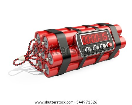 Bomb with digital clock timer 3D illustration Isolated on white - stock photo