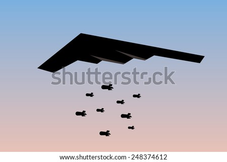 bomber dropping bombs silhouette - stock photo