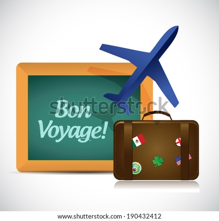 bon voyage or safe trip travel illustration design over a white background - stock photo