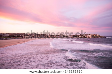 Bondi Beach at dusk - stock photo