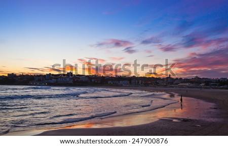 Bondi Beach at sunset, Sydney, NSW, Australia - stock photo