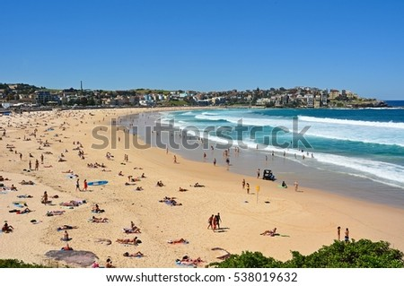 BONDI BEACH, AUSTRALIA - MARCH 6, 2015. View of Bondi beach near Sydney, Australia, with people.