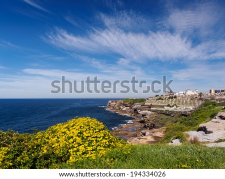 Bondi to Coogee walking track near Waverley Cemetery - stock photo