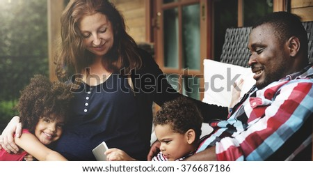 Bonding Carefree Cheerful Parenting Family Relax Concept - stock photo