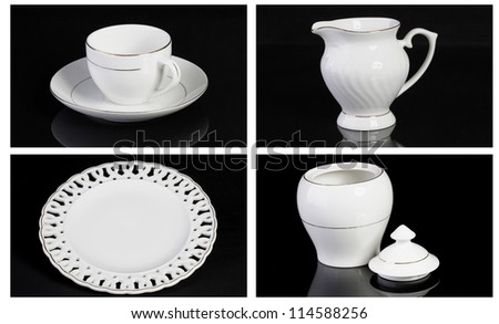 Bone china tea - coffee  set isolated - stock photo
