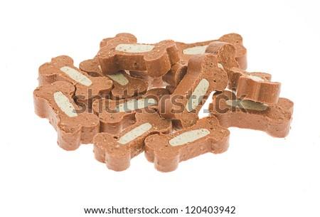 bone dog treats on a white background - stock photo