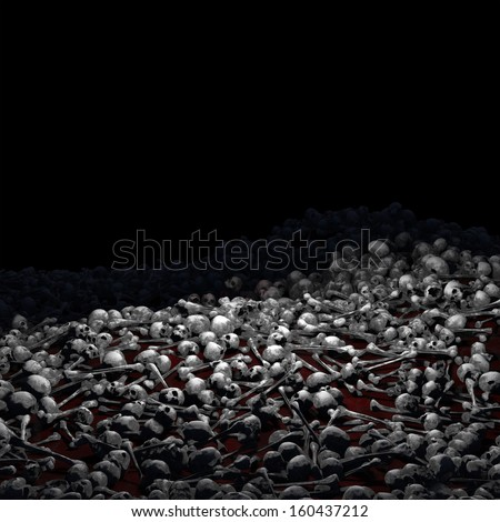 Bones, so Many Bones - Piles of dirt covered human skulls and bones laying over a ground covered with blood for your Halloween and horror needs. - stock photo