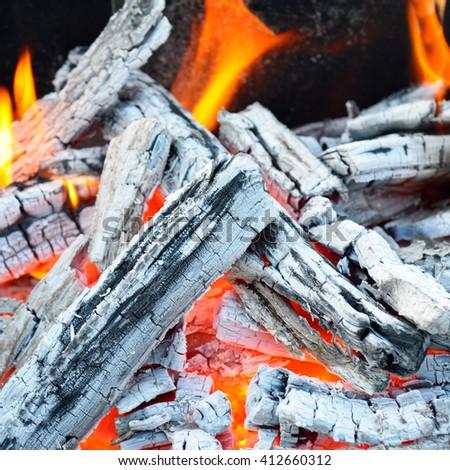 bonfire, fire, wood coal and ash - stock photo