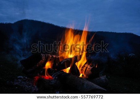 bonfire in the mountain