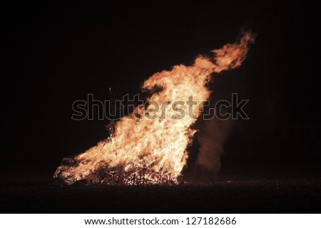Bonfire in the night - stock photo