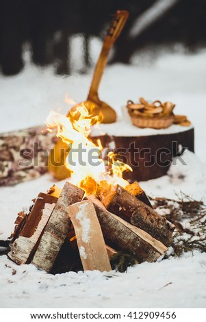 bonfire in winter forest - stock photo