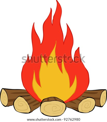 Bonfire on a white background, raster - stock photo