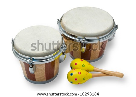 Bongo Drums and Maracas Isolated on White