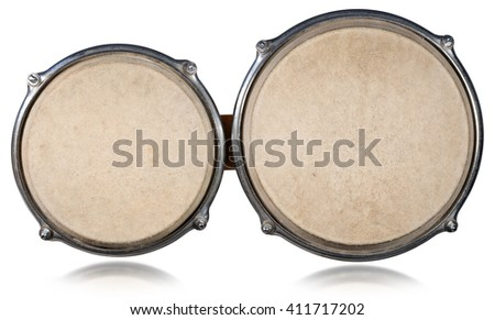 Bongo drums - Top View / Detail of bongo drums seen from the top and isolated on white background - stock photo