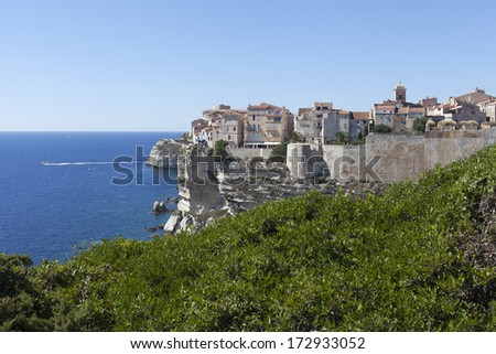 Bonifacio city on cliffs, Corsica, France. - stock photo