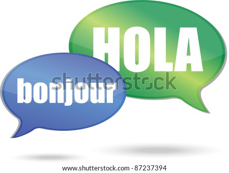 Bonjour and hola messages illustration design - stock photo