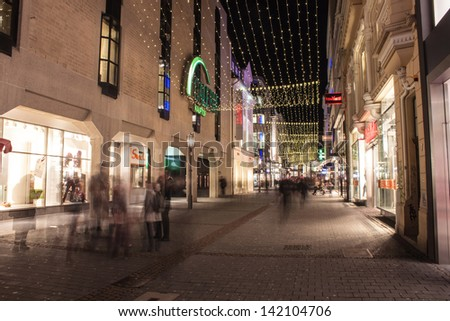 BONN, GERMANY - DECEMBER 11: Christmas decoration on December 11, 2012 in Bonn, Germany. Streets in city center are decorated of whole advent time. - stock photo