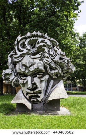 Bonn, Germany - June 10: Beethoven Monument in the city of Bonn, Germany.  - stock photo