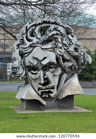 BONN, GERMANY - MARCH 14: Beethon - a bust of Ludwig van Beethoven on March 14, 2012 in Bonn, Germany. The sculpture by Klaus Kammerichs based on the portrait of Beethoven by Karl Josef Stieler. - stock photo