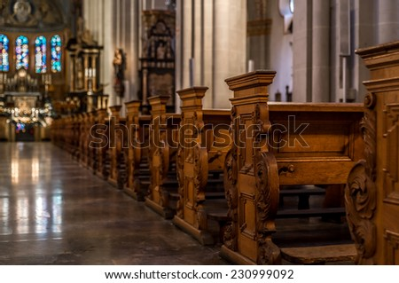 BONN, GERMANY NOVEMBER 9 2014 - The Bonn Minsteris a Roman Catholic Church in Bonn, it is one of Germany's oldest churches having being built between the 11th and 13th centuries - stock photo